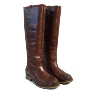 Aldo Rustic Leather Knee High Riding Boot Brown